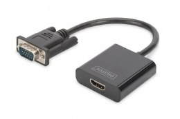 Konwerter/adapter audio-video VGA do HDMI, 1080p FHD, z audio 3.5mm MiniJack